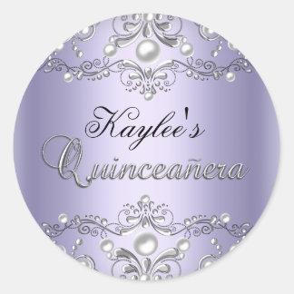 Silver & Purple Damask Pearl Quinceanera Sticker