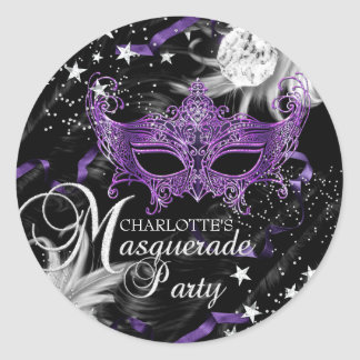 Silver Purple Mask Star Night Masquerade Sticker