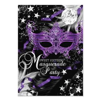 "Silver Purple Mask Star Night Masquerade Sweet 16 5"" X 7"" Invitation Card"