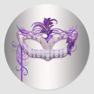 Silver Purple Masquerade Party Stickers