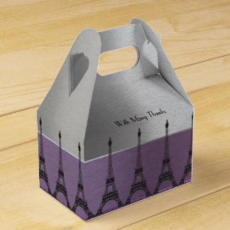 Silver Purple Metallic Paris Eiffel Personalized Favor Box