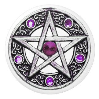 Silver & Purple Pentagram Ceramic Knob