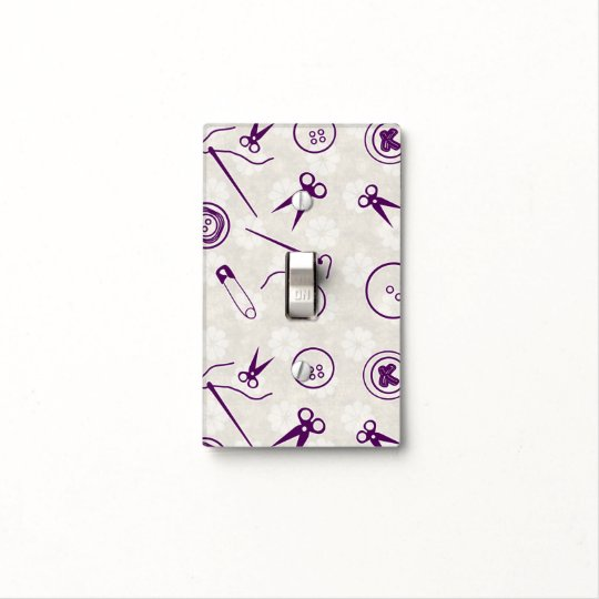 Silver Purple Sewing Pattern with Monogram Light Switch Cover