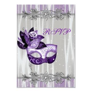 """Silver Purple Sparkle Purple Masquerade Party RSVP 3.5"""" X 5"""" Invitation Card"""