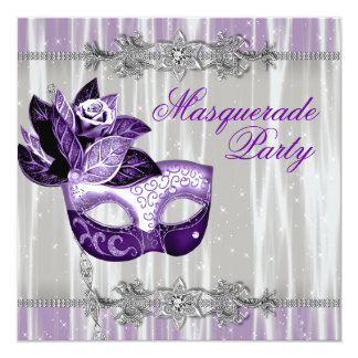 """Silver Purple Sparkles Purple Masquerade Party 5.25"""" Square Invitation Card"""