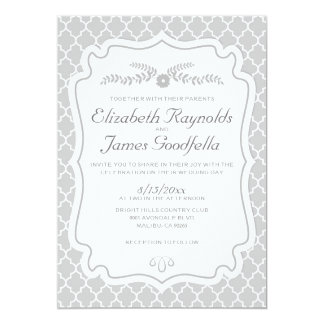 Silver Quatrefoil Wedding Invitations