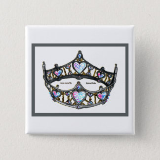 Silver Queen of Hearts crown tiara white button