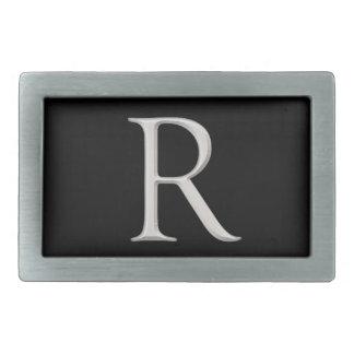 "Silver Raised ""R"" Initial Belt Buckle"