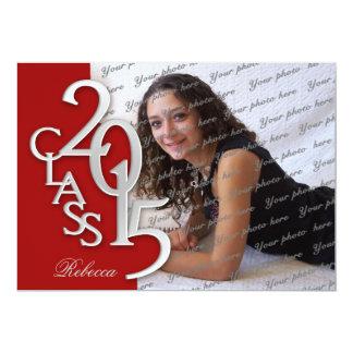 Silver Red 2015 Photo Graduation Invitation