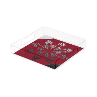Silver Red Black Brick Ethnic Abstract Acrylic Tray