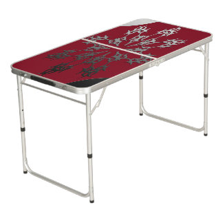 Silver Red Black Brick Ethnic Abstract Beer Pong Table