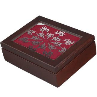 Silver Red Black Brick Ethnic Abstract Keepsake Box