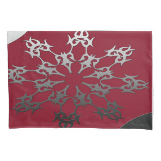 Silver Red Black Brick Ethnic Abstract Pillowcase