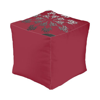 Silver Red Black Brick Ethnic Abstract Pouf