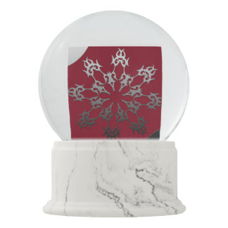 Silver Red Black Brick Ethnic Abstract Snow Globe