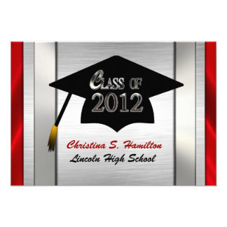 Silver Red Class Of 2012 Graduation Invitations