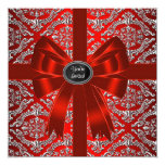 "Silver Red Damask Corporate Christmas Party 5.25"" Square Invitation Card"