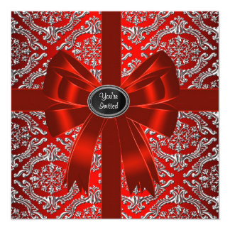 """Silver Red Damask Corporate Christmas Party 5.25"""" Square Invitation Card"""