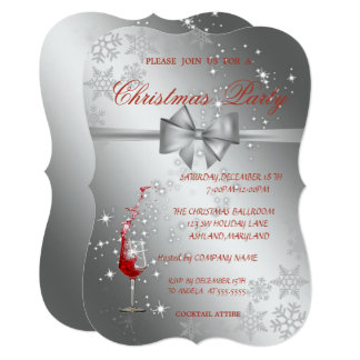 Silver  Red Glass,Corporate  Christmas Party Card