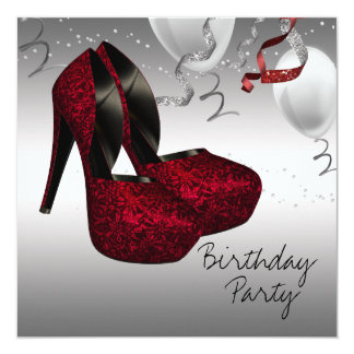 Silver Red High Heel Shoes Birthday Party Card