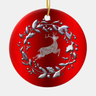 Silver Reindeer and Wreath on Red Christmas Ceramic Ornament