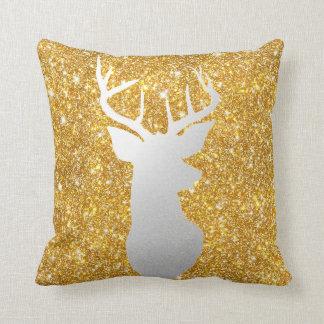 Silver Reindeer Antler Modern Gold Faux Glitter Throw Pillow