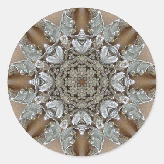 Silver Rhinestones Steampunk Mandala Classic Round Sticker