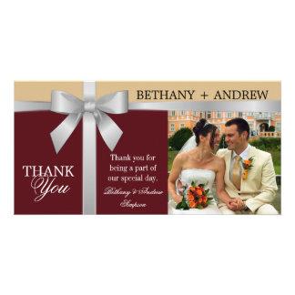 Silver Ribbon Burgundy Gold Wedding Thank You Card