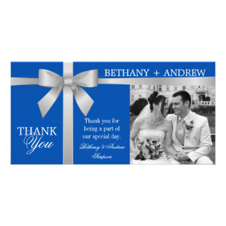 Silver Ribbon Royal Blue Wedding Thank You Card