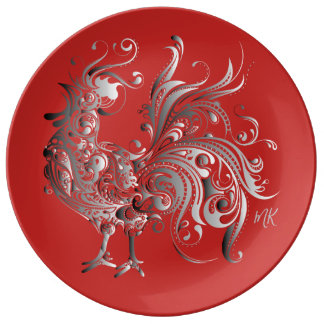 Silver Rooster Choose Your Background Color Plate