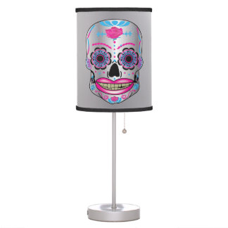 Silver Rose Candy Skull Lamp