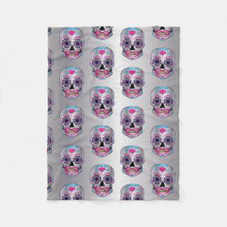 Silver Rose Candy Skull Pattern on Fleece Blanket