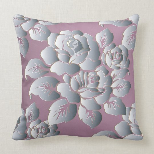 Silver/Rose Decorative Pillow