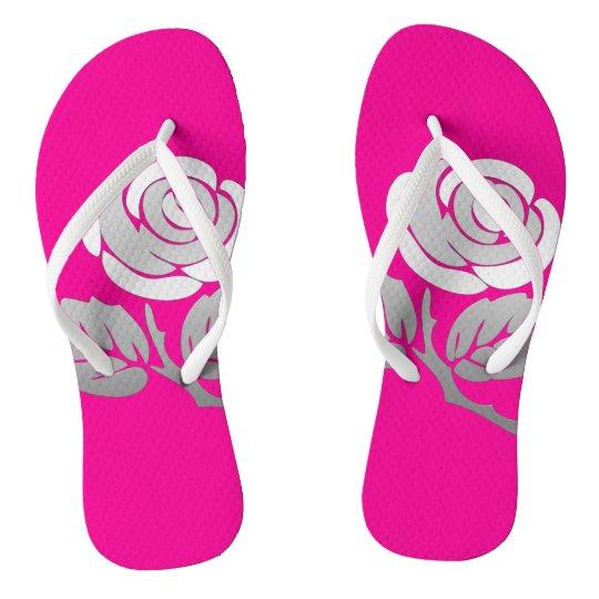 Silver Rose Flip Flops