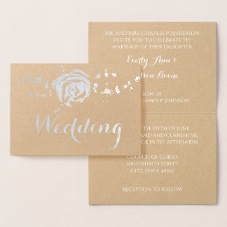 Silver Rose Foil Typography Wedding Invitations