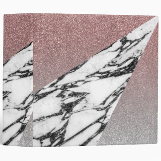 Silver Rose Gold Glitter and Marble Geometric Binder