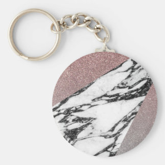 Silver Rose Gold Glitter and Marble Geometric Keychain