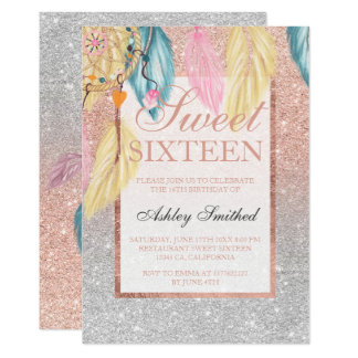 Silver rose gold glitter dreamcatcher Sweet 16 Card