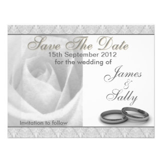 Silver Rose Wedding Rings Save The Date Card Custom Invite