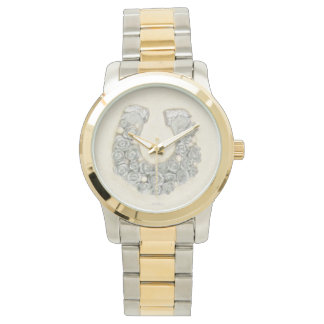 Silver Roses Horseshoe Watch