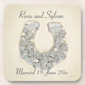 Silver Roses Horseshoe Wedding Handfasting Favors Coasters