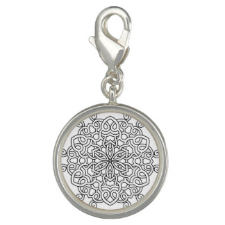 Silver round charm with Mandala