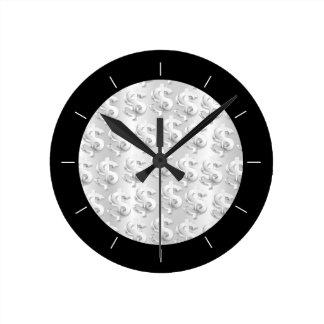 $ Silver $ Round Clock
