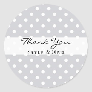 Silver Round Custom Polka Dotted Thank You Round Sticker