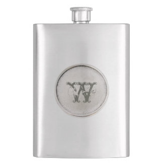 Silver Round with Monogram - Rustic Western  Flask