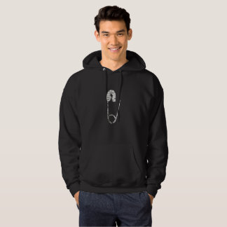 silver safety pins mens hoodie hooded sweatshirt