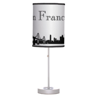 Silver San Francisco Skyline Silhouette Lamp
