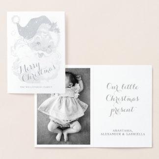 Silver Santa Claus Merry Christmas Photo Vintage Foil Card