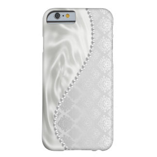 Silver Satin Damask Pearls Fabric Barely There iPhone 6 Case