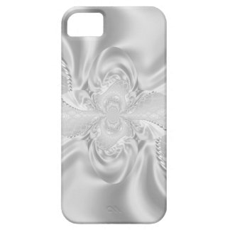 Silver Satin Damask White Pearls Fabric Plush Case For The iPhone 5